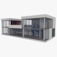 3d model of modernist house interior