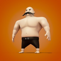 c4d cartoon turkish oil wrestler