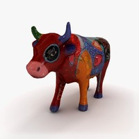 clay cow statuette 3d model