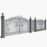 3d wrought fence model