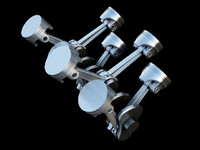 animation engine v8 piston crank 3d model