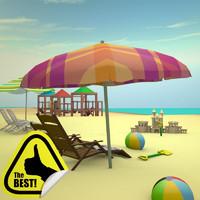 complete beach scene 3d obj