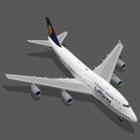 3d model boeing 747-400 lufthansa