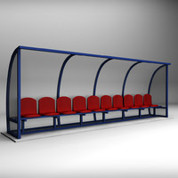 3d model of stadium seating reserve bench