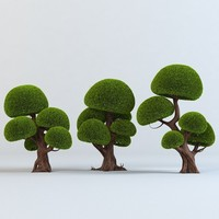 set cartoon trees 3d model