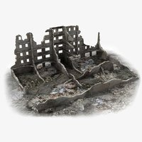 abandoned ruined building world war 3d model