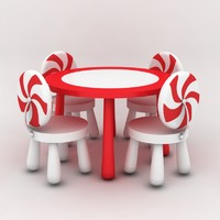 3d model table chairs kids