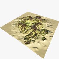 island mountain 3d max