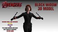 3d black widow avengers modelling