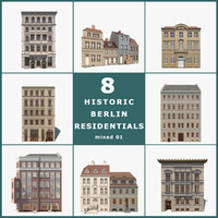 8 historic berlin residentials 3d model