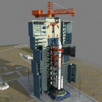 rocket launch 3d model