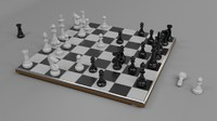 chess set board polys 3d obj