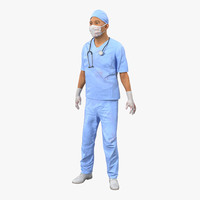 male surgeon asian rigged 3d model