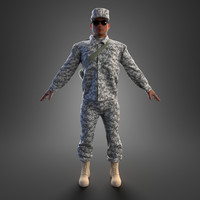 3d soldier rigged character model