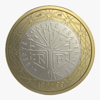 3d model 1 euro coin french