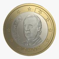 1 euro coin espana 3d max