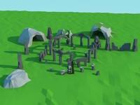 3d stones ruins caves