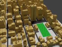 3d model of large city buildings