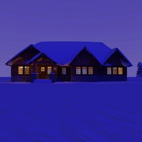 wooden craftsman house night 3d c4d
