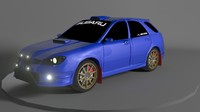 3d subaru impreza wrx rally car model