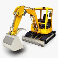 mini excavator 3d fbx