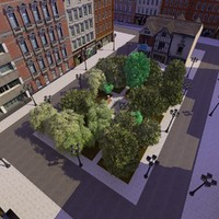 3d model of town park square