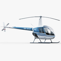 robinson r22 helicopter interior 3d model