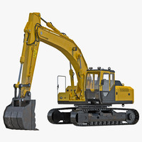 3d tracked excavator rigged
