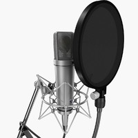 neumann u87 ai rigged 3d model