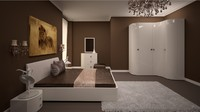 3d bedroom design scene model