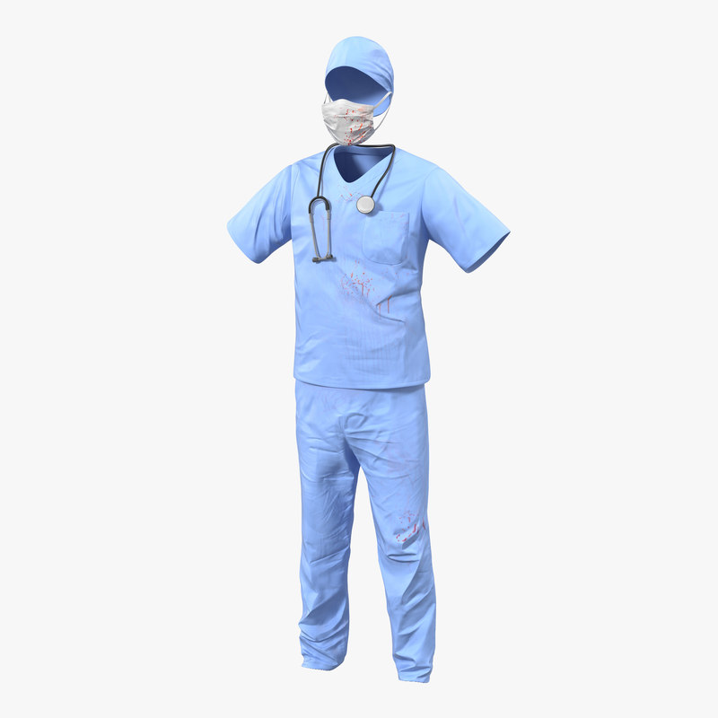 Surgeon Dress with Blood 3d model 00.jpg