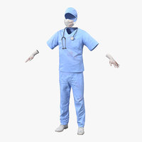 3d model surgeon dress 13 blood