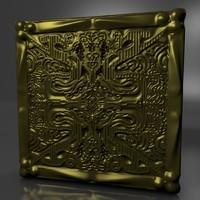 3d model gold square