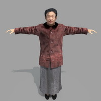 3d old asia woman model