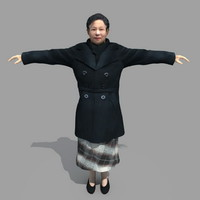 old asia woman 3d max