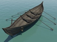 free medieval rowboat 3d model