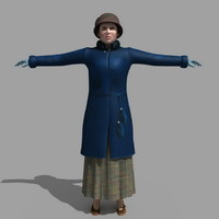 3d old woman model