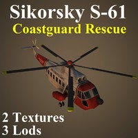 3d sikorsky red helicopter