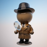 3d max cartoon detective character