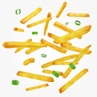 3d french fries green onions