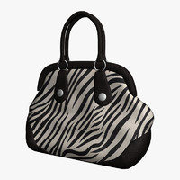 zebra striped bag 3d model