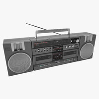 3d model cassette old radio fm