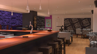 3d cafe bar model
