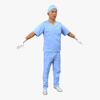 male surgeon asian 2 3d model