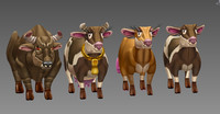 3d model of cow animal cartoon toon