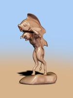 Interior statuette - Faun with fish