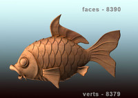 3d fish carved wood model