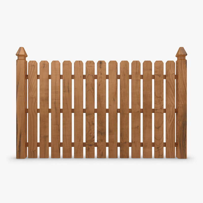 3d model realistic fence wood 04 for 3d fence