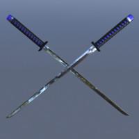 3d obj sword japanese katana blade