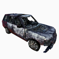 burned car range rover 3d max